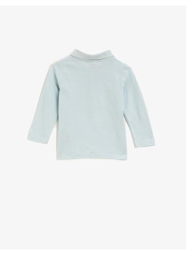 Koton Polo Yaka Uzun Kollu Basic Pamuklu Tisört Mavi